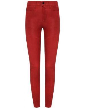 Кожаные брюки - красные Frame Denim