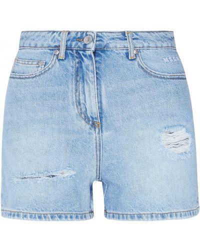 Джинсовые шорты с завышенной талией короткие Msgm