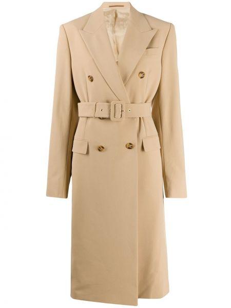 Шерстяной длинное пальто двубортный с поясом Nanushka