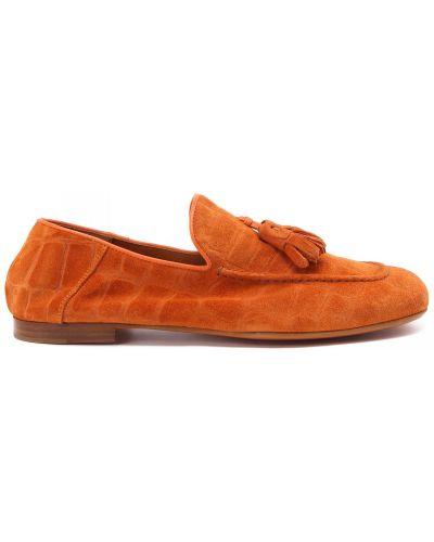 Оранжевые кожаные туфли закрытые Rocco P.