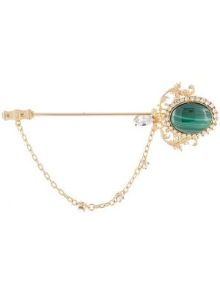 Золотистая брошь золотая с декоративной отделкой Dolce & Gabbana