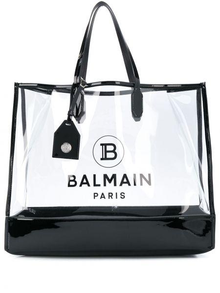 Skórzana torebka na zakupy na ramię Balmain
