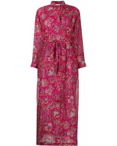 Розовое шелковое платье макси с воротником Etro