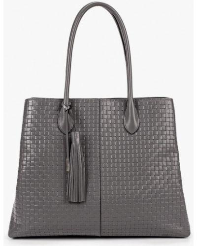 Серая сумка с ручками из натуральной кожи Eleganzza