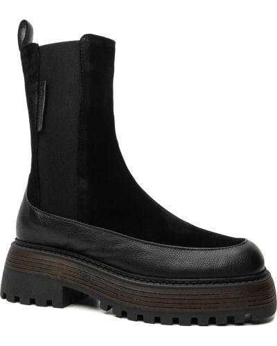 Замшевые ботинки челси - черные Alpino