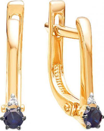 Серьги с бриллиантом c сапфиром ювелирные традиции