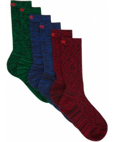 Хлопковые черные носки высокие стрейч с вышивкой Affix