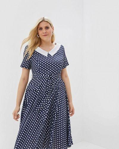Платье с открытыми плечами синее Max&style