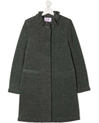 Серое шерстяное длинное пальто с потайной застежкой Il Gufo