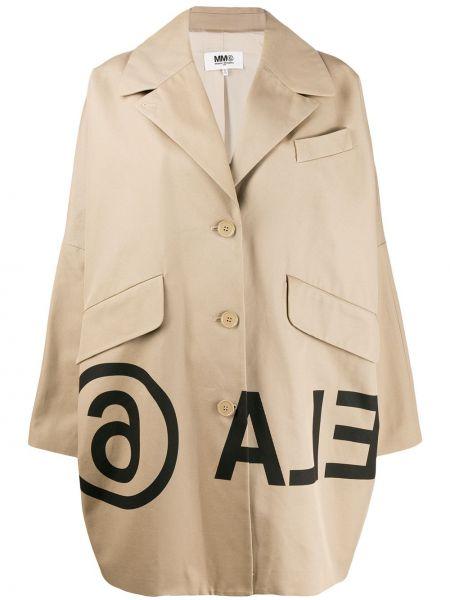 Пальто кокон с принтом Mm6 Maison Margiela