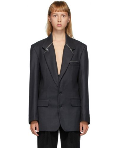 Черный пиджак с карманами на молнии с воротником Situationist