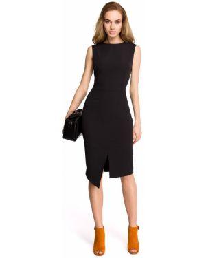Klasyczna czarna sukienka midi bez rękawów Stylove
