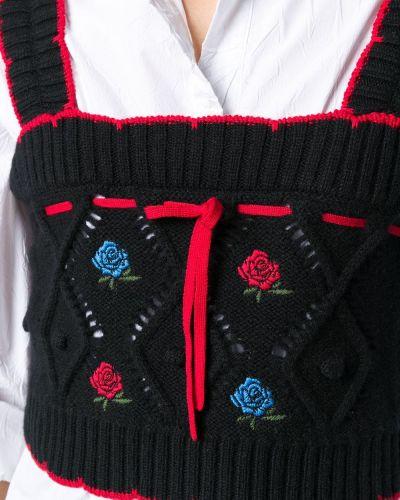 Черный вязаный топ с вышивкой без рукавов Versace
