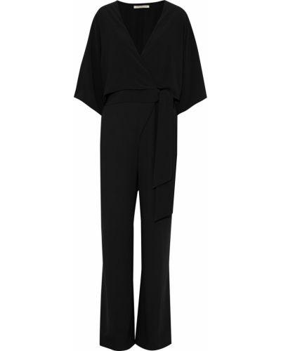 Текстильный черный комбинезон с карманами Halston Heritage