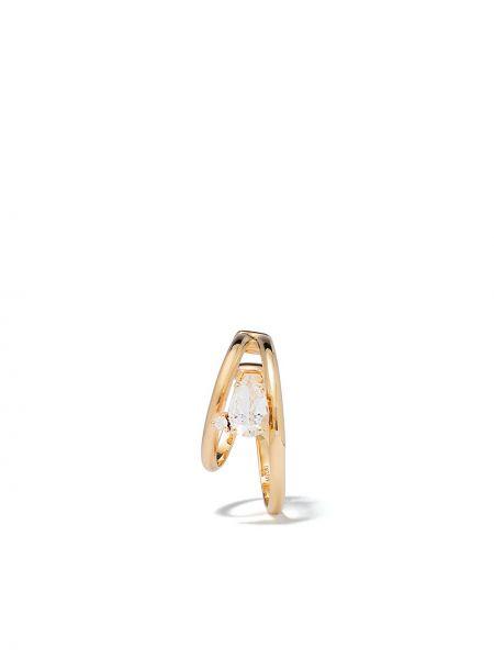 Żółte złote kolczyki ze złota z diamentem Mizuki