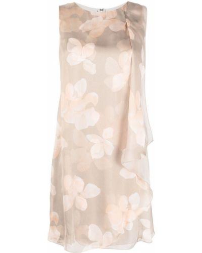 Прямое шелковое бежевое платье Emporio Armani