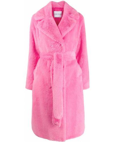 Розовое пальто классическое с поясом Stand