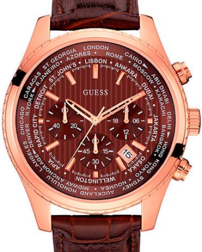 Часы водонепроницаемые с кожаным ремешком позолоченные Guess