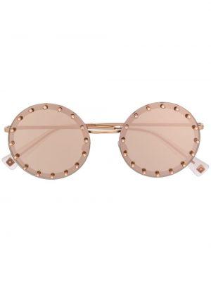 Золотистые желтые солнцезащитные очки круглые металлические Valentino Eyewear