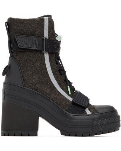 Черные ботинки на каблуке на платформе Converse