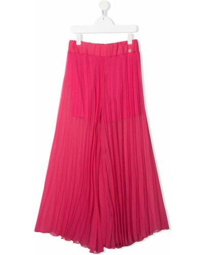 Розовые свободные брюки с поясом Miss Blumarine