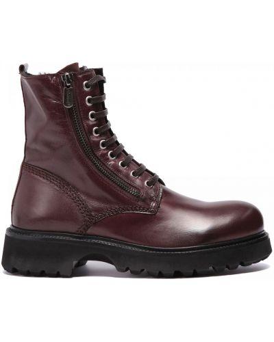 Коричневые кожаные ботинки круглые Rocco P.