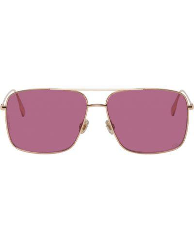 Розовые очки авиаторы квадратные металлические Dior Homme
