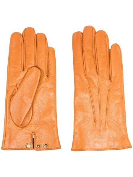 Кожаные перчатки золотые с подкладкой Gucci
