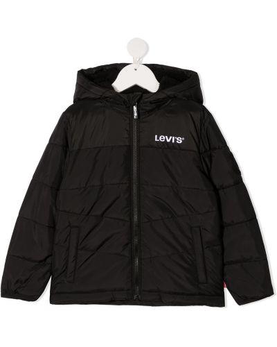 Черное стеганое длинное пальто с вышивкой Levi's Kids