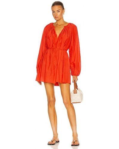 Шелковое красное платье мини с карманами Matteau