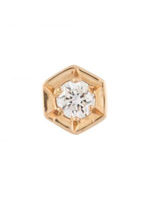 Золотистые желтые серьги-гвоздики с бриллиантом E.m.