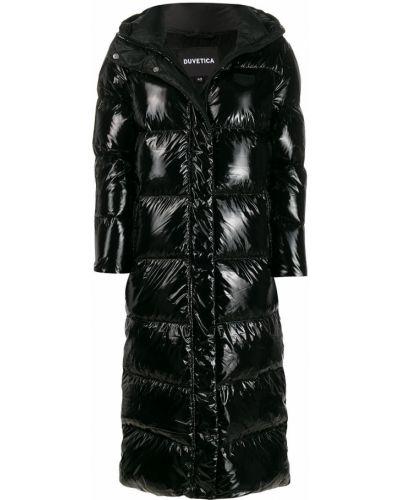 Прямое черное длинное пальто с воротником Duvetica