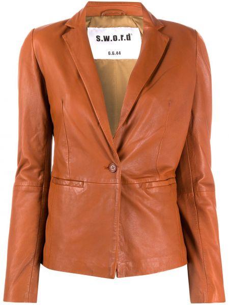 Коричневый кожаный пиджак на пуговицах S.w.o.r.d 6.6.44