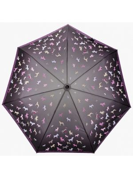 Зонт складной черный Fabretti