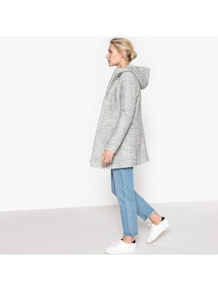 Пальто с капюшоном букле шерстяное La Redoute Collections