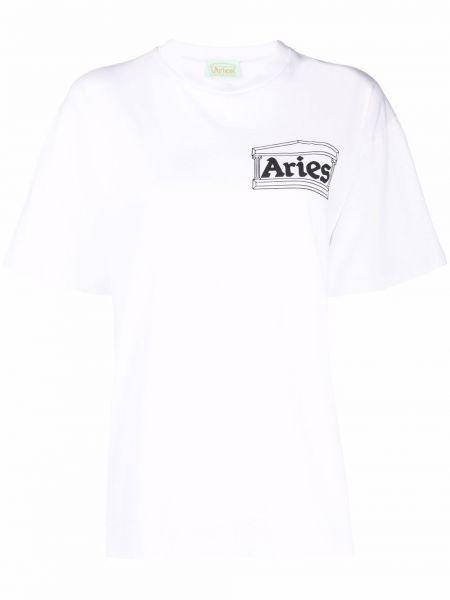 Футболка с принтом - белая Aries