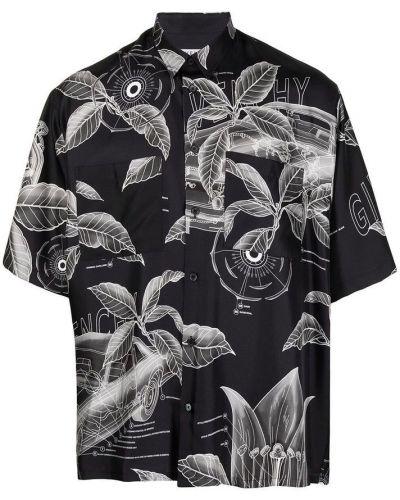 Czarna koszula z printem zapinane na guziki Givenchy