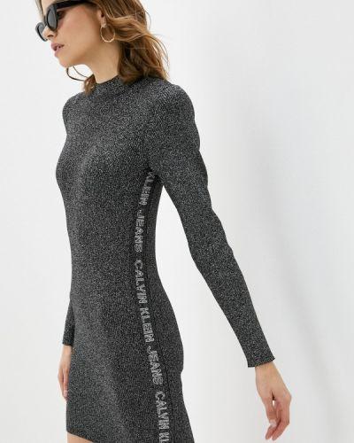 Серебряное вязаное джинсовое платье Calvin Klein Jeans