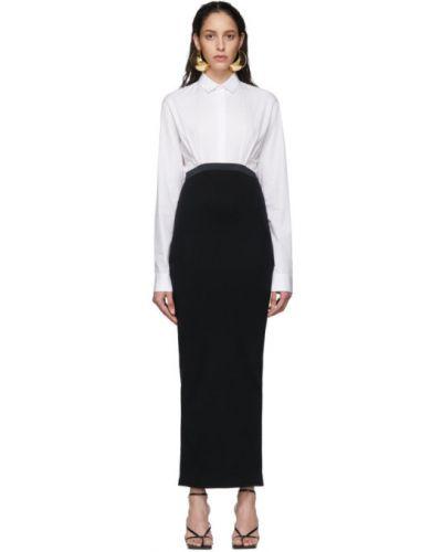Хлопковое белое платье макси с длинными рукавами с воротником Haider Ackermann