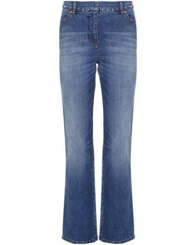 Прямые джинсы с эффектом потертости с широким поясом Valentino