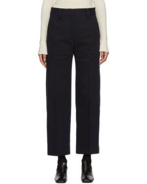 Нейлоновые плиссированные брюки с защипами с воротником с поясом Studio Nicholson