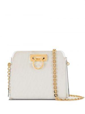 С ремешком белая парусиновая сумка на цепочке с декоративной отделкой Salvatore Ferragamo Pre-owned