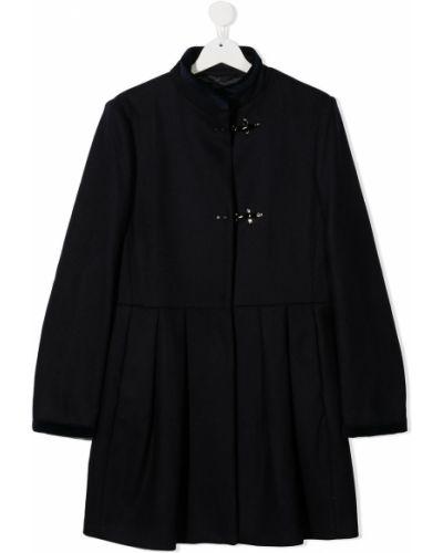 С рукавами кашемировое черное длинное пальто с воротником Fay Kids