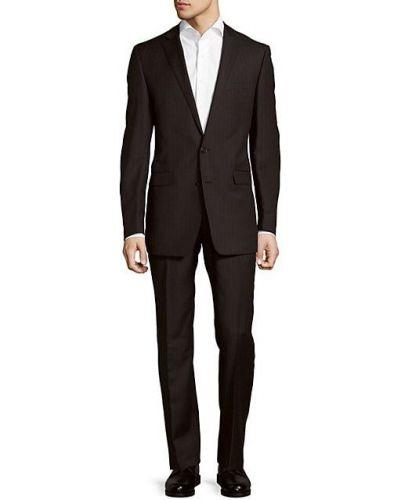Шерстяной черный костюм классический с воротником Calvin Klein