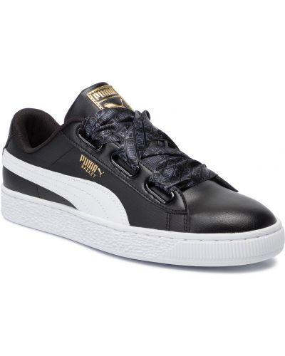 Skórzany sneakersy sztuczna skóra czarne Puma