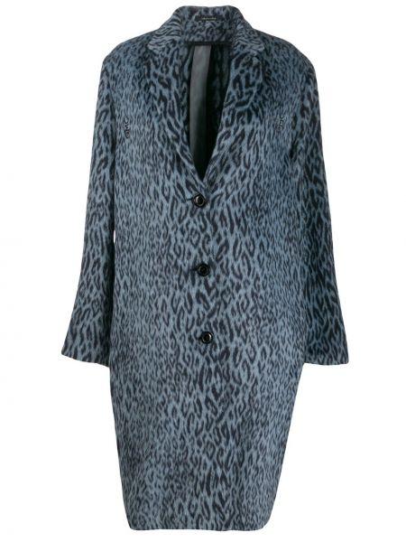 Синее пальто на пуговицах с капюшоном Omc