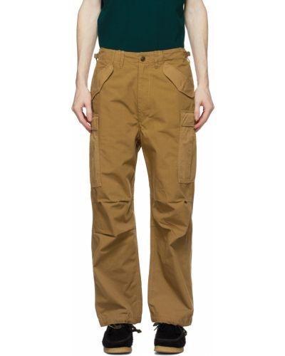 Beżowe spodnie z paskiem bawełniane Nanamica