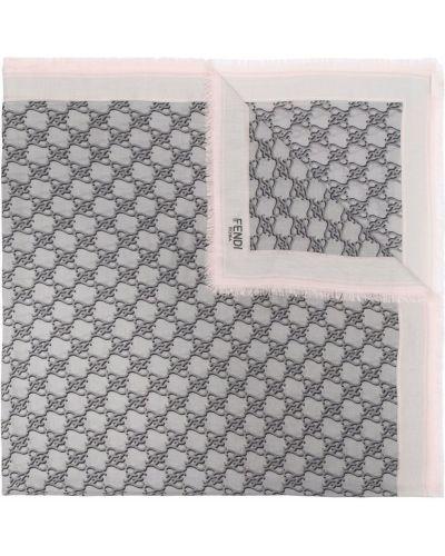 Серый шарф с принтом Fendi
