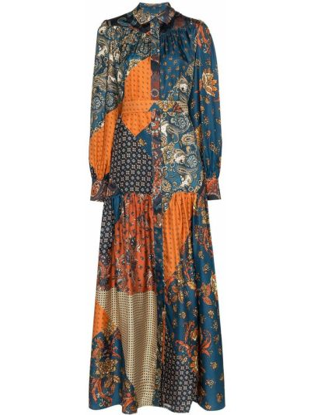 Niebieska sukienka długa z długimi rękawami z kapturem Evi Grintela