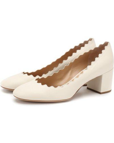 Белые кожаные туфли Chloé